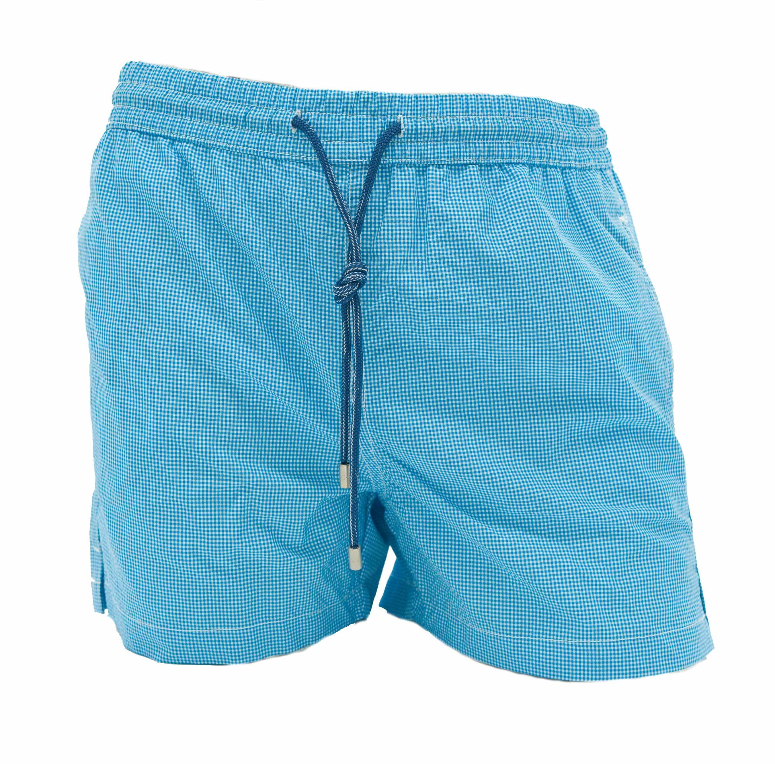 Picture of boxer swimming trunks with turquoise background