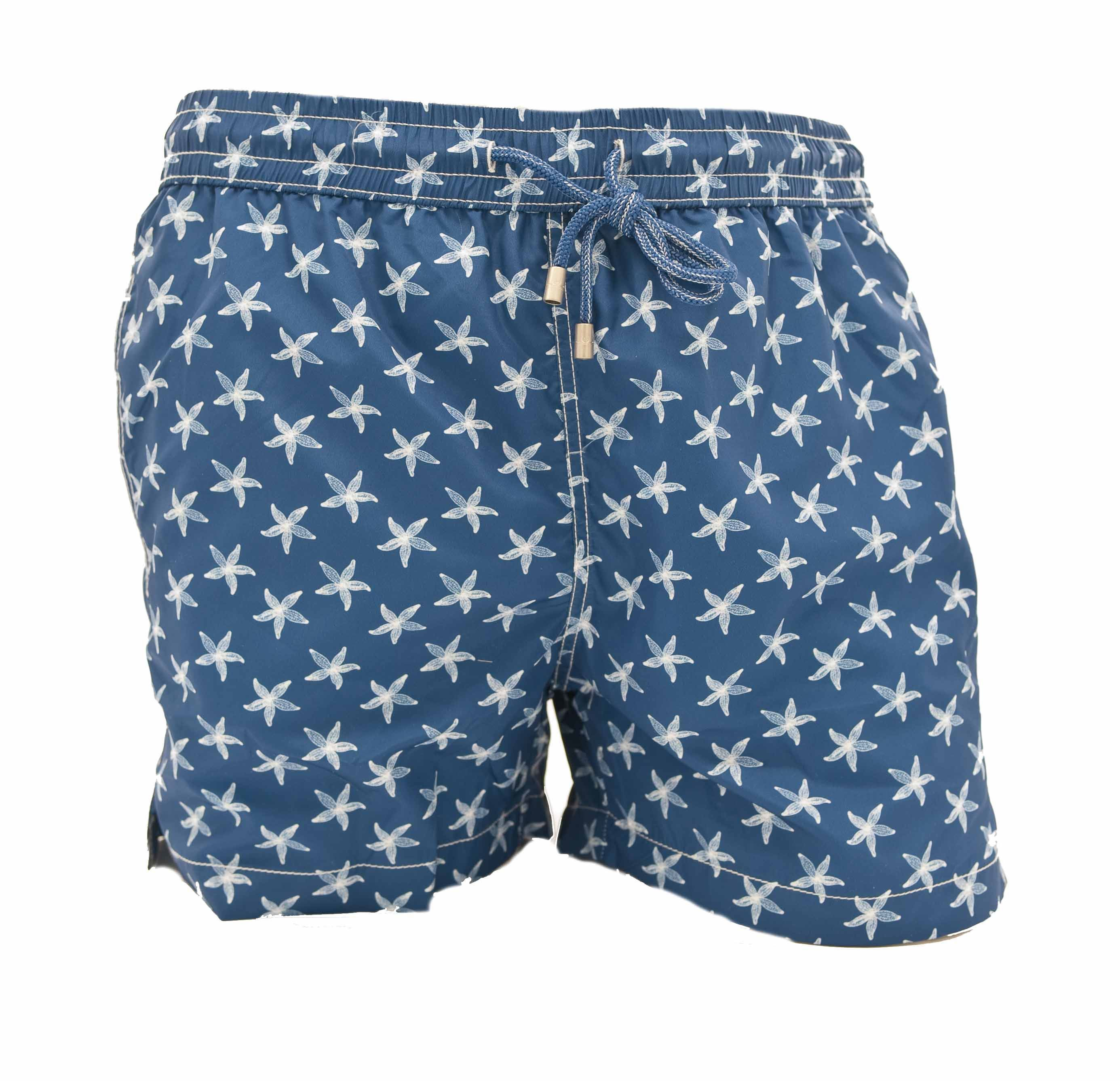 Picture of StarFisPatterned boxer swimming trunks with blue background