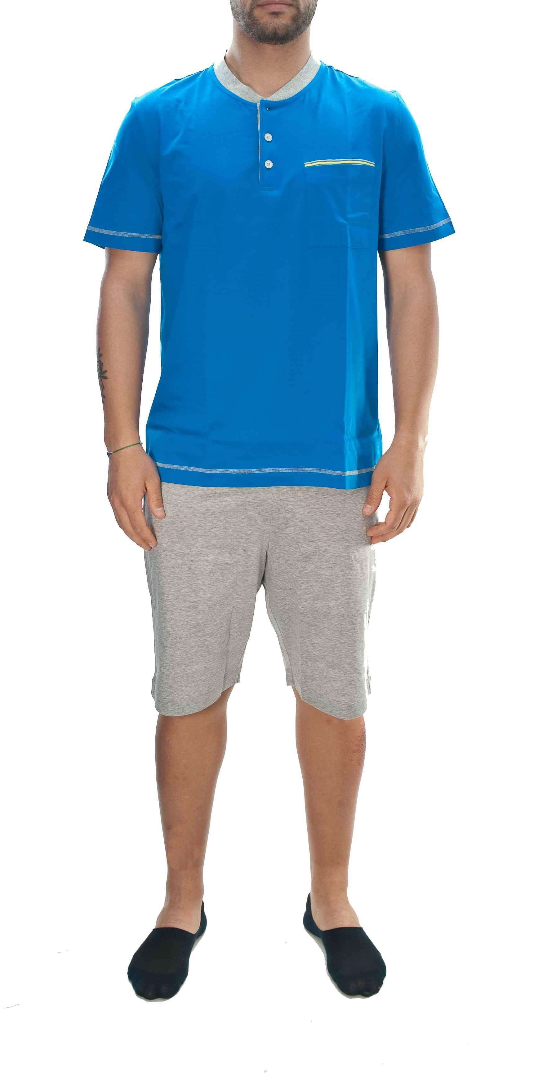Picture of Pigiama corto in jersey di cotone azzurro