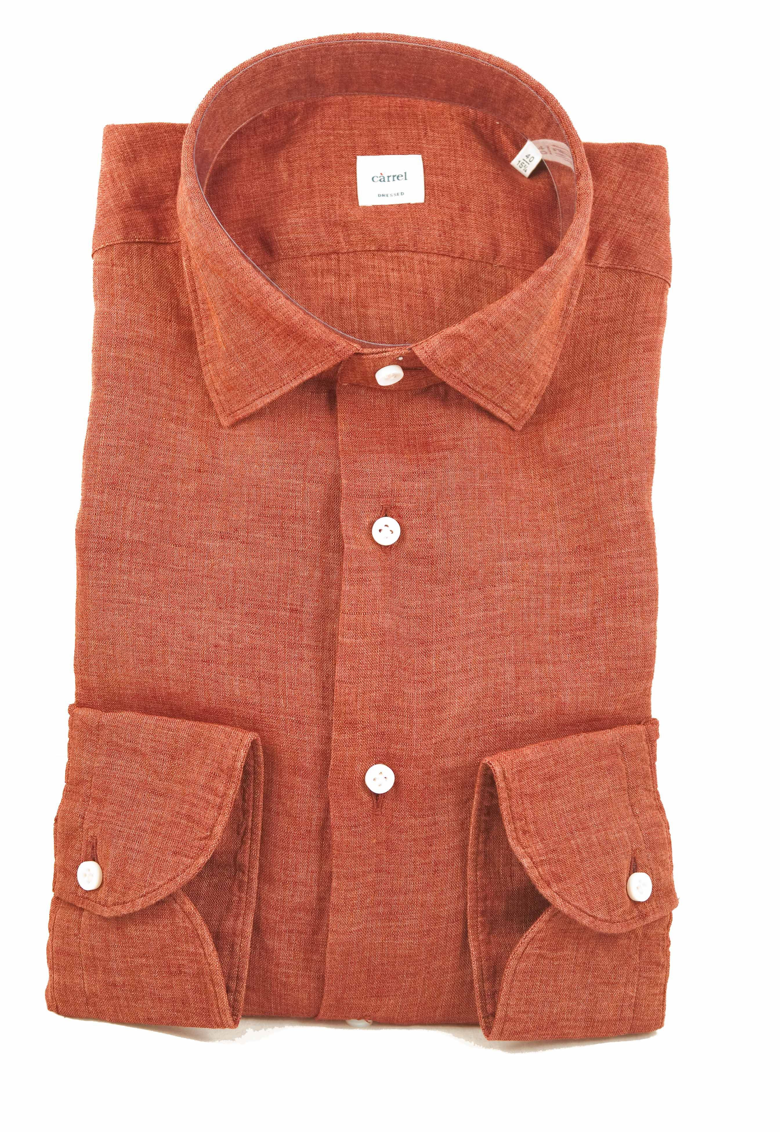 Picture of Rust long-sleeved shirt in washed linen