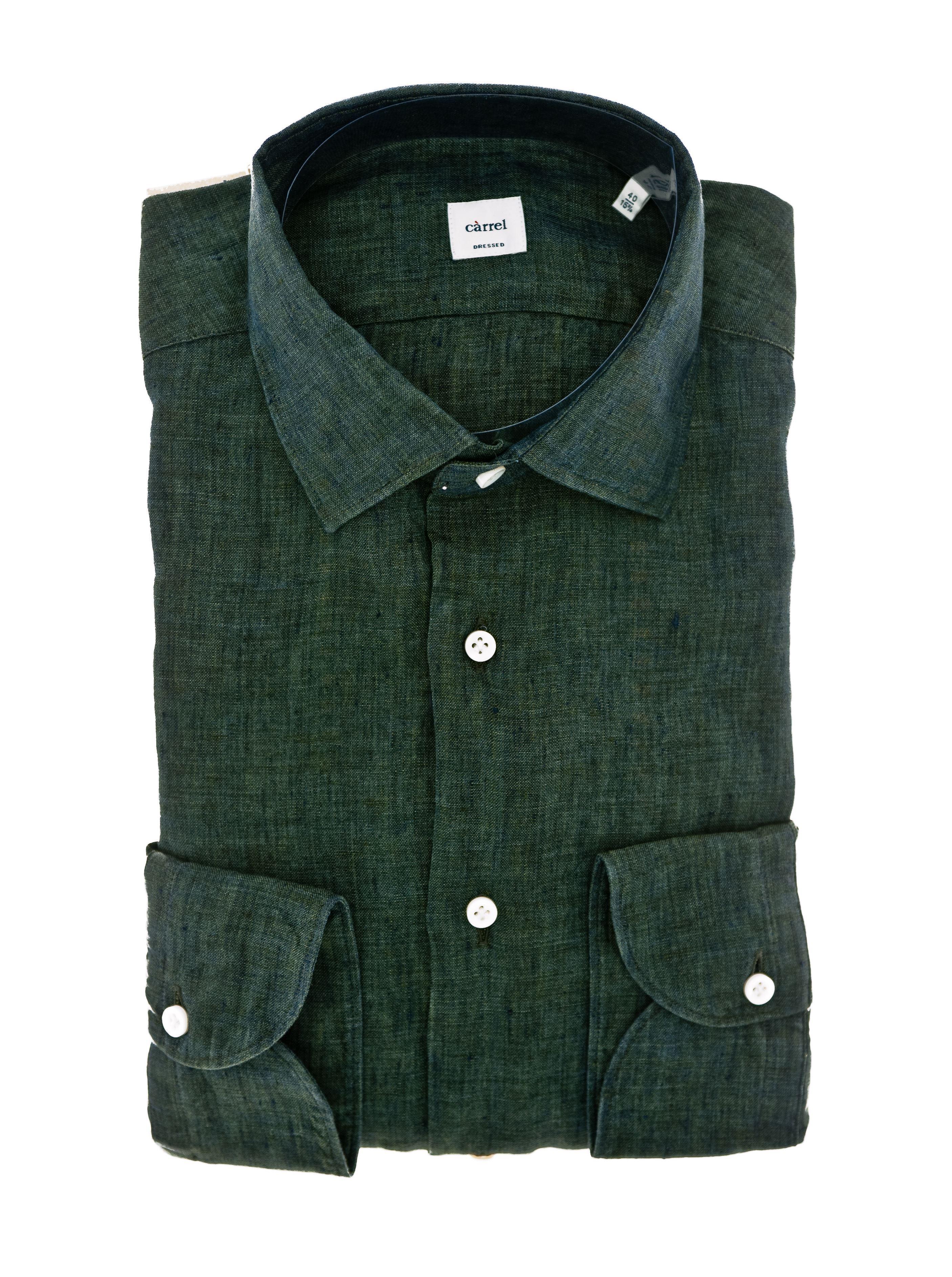 Immagine di Camicia in lino lavato verde scuro