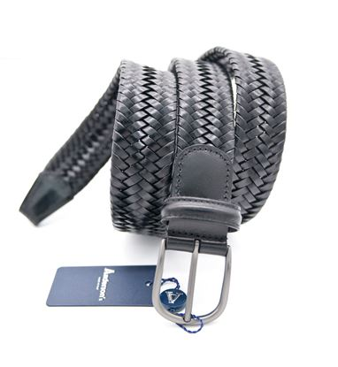 Picture of Black woven stretch leather belt