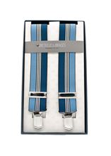Immagine di Bretelle in elastico a righe blu e celeste