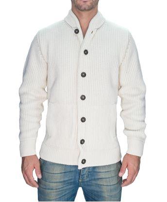 Immagine di Giacca in maglia a costa inglese bianca