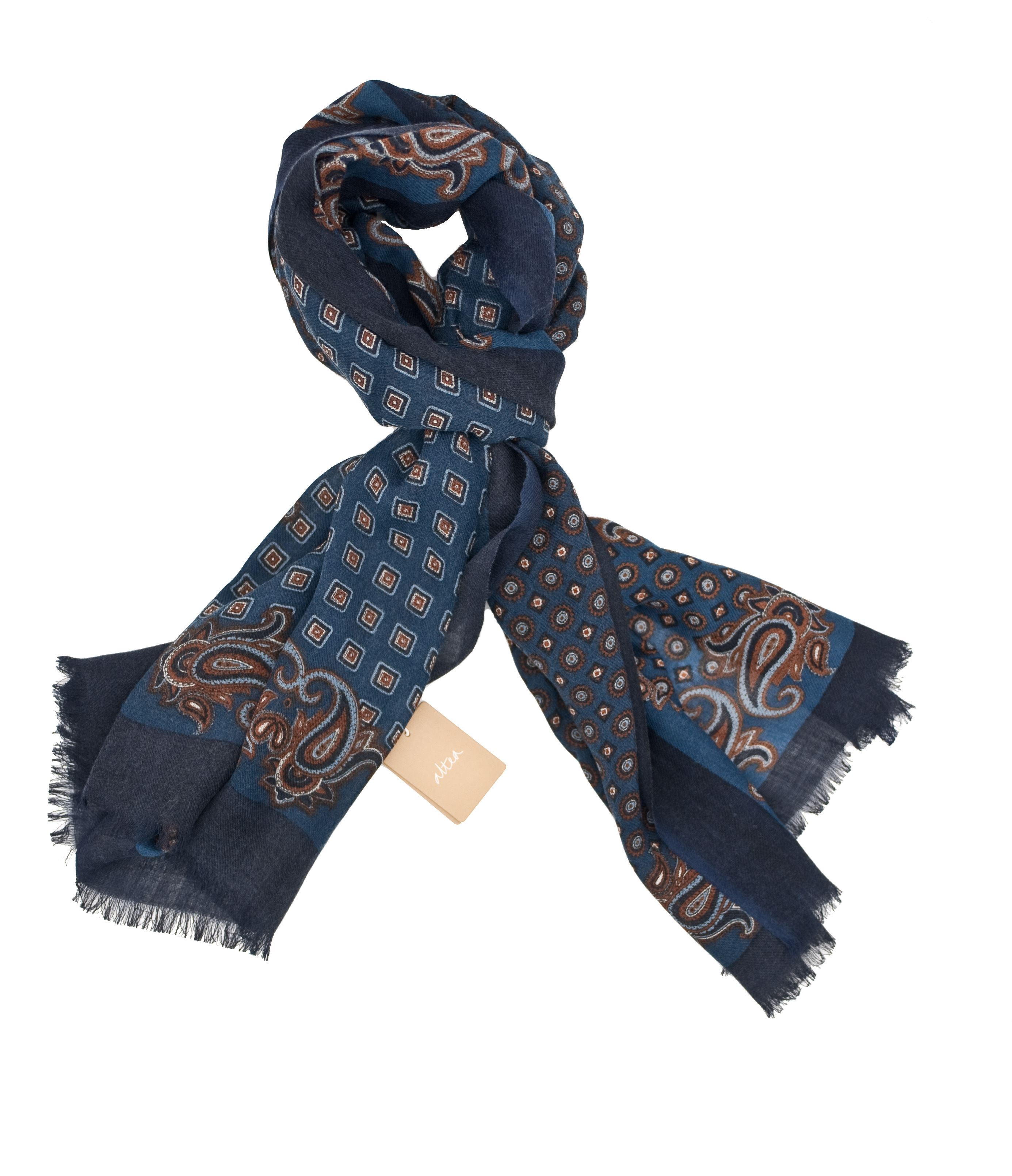 Picture of wool scarf blue background
