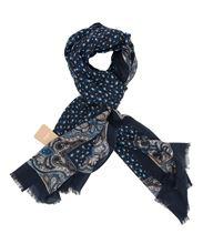 Immagine di Sciarpa in lana fantasia fondo blu